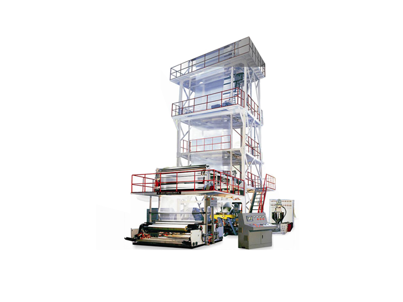 Three-layer co-extrusion top-spinning cold blown film production line